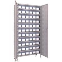 軽量棚扉付 875X300X1800樹脂引出透明小X66 ネオグレ 63V-T812C11 NG 1セット 504-3646 (直送品)