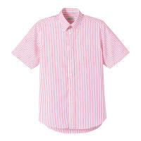 FACE MIX(フェイスミックス) 事務服 ユニセックス 大きいサイズ 半袖ストライプシャツ レッド 3L (直送品)