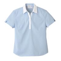 トンボ 介護ユニフォーム キラク レディスニットシャツ CR122 サックス 4L 1枚 (取寄品)