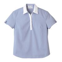 トンボ 介護ユニフォーム キラク レディスニットシャツ CR122 ブルー 4L 1枚 (取寄品)