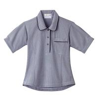トンボ 介護ユニフォーム キラク レディスニットシャツ CR124 チェックネイビー 4L 1枚 (取寄品)