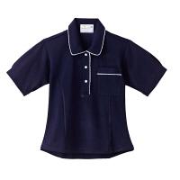 トンボ 介護ユニフォーム キラク レディスニットシャツ CR124 ネイビー 4L 1枚 (取寄品)