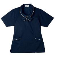トンボ 介護ユニフォーム キラク レディスニットシャツ CR168 ネイビー M 1枚 (取寄品)