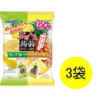 ぷるんと蒟蒻ゼリーパウチ グレープフルーツ+パイナップル 12個入×3袋 オリヒロ 栄養補助ゼリー