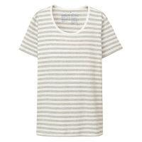 無印 フライス編丸首半袖Tシャツ 婦人L