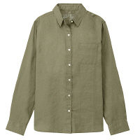 無印 リネン洗いざらしシャツ 婦人M 緑
