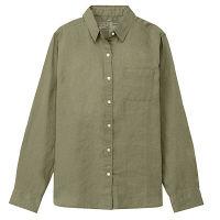 無印 リネン洗いざらしシャツ 婦人L 緑