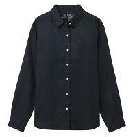 無印 リネン洗いざらしシャツ 婦人L 紺