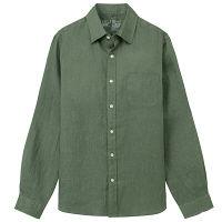 無印 フレンチリネンシャツ 紳士 M 緑