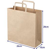 平紐 クラフト紙手提袋ベーシック260×280×100 茶 1袋(50枚入)