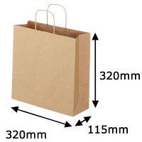 丸紐 クラフト紙手提袋ベーシック 320×320×115 茶 1袋(50枚入)