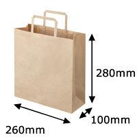 平紐クラフト紙手提袋薄型エコノミー260×280×100 茶 1袋(50枚入)