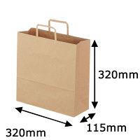 平紐手提袋 薄型エコノミータイプ 茶 無地 M 1袋(50枚入) アスクル