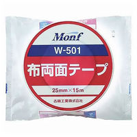 古藤工業 Monf布両面テープ W-501 0.4mm厚 幅25mm×15m巻 白 1セット(5巻:1巻×5)