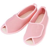 あゆみ 介護靴 2503早快マジック オープン ピンクM(22.0-23.0cm)両足 院内用 (取寄品)