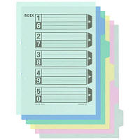 コクヨ カラー仕切カード(ファイル用) A4タテ 5山見出し シキ-140 1箱(100組入)