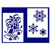【クリスマス】スノースプレー用型紙 すりこみくん HS M5・6 (店舗装飾・室内装飾・デコレーション) 1セット(2種各1枚入)