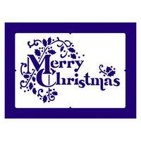 【クリスマス】スノースプレー用型紙 すりこみくんRS MC文字・柊 (店舗装飾・室内装飾・デコレーション) 1枚