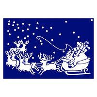 【クリスマス】スノースプレー用型紙 すりこみくんRS サンタが街へ (店舗装飾・室内装飾・デコレーション) 1枚