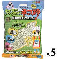 キャットセイドお茶の猫砂紙製の固まって流せる 8L 1ケース(5袋)