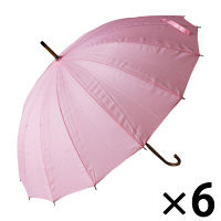 婦人16本骨手開き傘 ピンク
