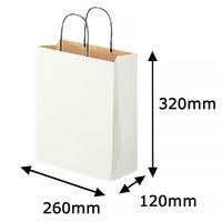 リバーシブルペーパー手提げ 丸紐 白 M 1セット(50枚:10枚入×5袋) スーパーバッグ