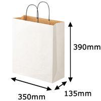 リバーシブルペーパー手提げ 丸紐 白 L 1セット(50枚:10枚入×5袋) スーパーバッグ
