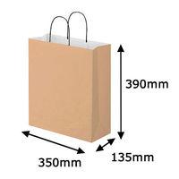 リバーシブルペーパー手提げ 丸紐 茶 L 1セット(50枚:10枚入×5袋) スーパーバッグ