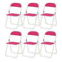TOKIO 折りたたみイス ホワイトフレーム(背座:ビニールレザー 折りたたみ可能) ピンク 1箱(6脚入)