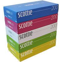 ティッシュペーパー 200組(5個入) スコッティティシュー カラー 1パック 日本製紙クレシア