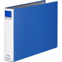 アスクル パイプ式ファイル 両開き ベーシックカラースーパー(2穴)A3ヨコ とじ厚50mm背幅66mm ブルー 3冊