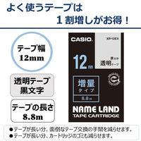 カシオ ネームランドテープ 増量タイプ8.8m 12mm 透明(黒文字) XR-12EX 1個