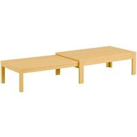 筑波産商 国産 伸長リビングテーブル NA 幅1200〜2255×奥行750×高さ400/370mm 1台 (取寄品)