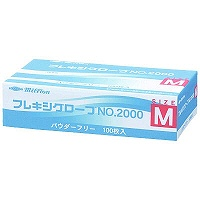 共和 ミリオン フレキシグローブ NO.2000 M 粉なし(パウダーフリー) プラスチック 1ケース(100枚入×10箱) (使い捨て手袋)