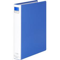 アスクル パイプ式ファイル片開き ベーシックカラー(2穴) A4タテ とじ厚30mm背幅46mm ブルー 3冊