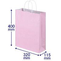 丸紐 手提げ紙袋 ピンク L 300枚