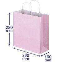 手提げ紙袋 丸紐 パステルカラー ピンク S 1箱(300枚:50枚入×6袋) スーパーバッグ