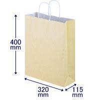 手提げ紙袋 丸紐 パステルカラー イエロー L 1パック(3箱計900枚) スーパーバッグ