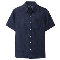 無印 洗いざらし半袖シャツ 紳士 S 紺