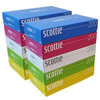 ティッシュペーパー 200組(5個入) スコッティティシュー カラー 1セット(2パック) 日本製紙クレシア