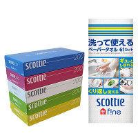 スコッティティシュー ティッシュペーパー 200組(5個入)+スコッティファイン 洗って使えるペーパータオル 61カット 1ロール 日本製紙クレシア