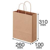 丸紐 クラフト紙手提袋 茶無地 幅260×高さ310×マチ幅100mm 260巾 1袋(50枚入) スーパーバッグ