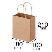 丸紐 クラフト紙手提袋ベーシック 180×210×100 茶 1箱(300枚:50枚×6袋)