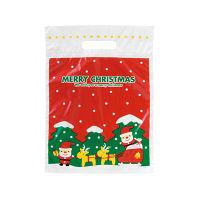 【クリスマス】ラッピング袋 小判抜きポリ手提げ袋 ミニサンタPEバッグー3 270×360×60mm HEADS