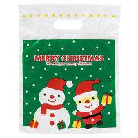 【クリスマス】ラッピング袋 小判抜きポリ手提げ袋 ミニサンタPEバッグー4 210×260×60mm HEADS