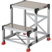 TRUSCO(トラスコ中山) 作業用踏台 アルミ製・縞板タイプ 2段 60cm TSFC256 1台 336-5115 (直送品)