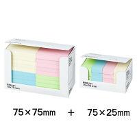 アスクル 貼ってはがせるオフィスのふせん サイズセット 75×75mm/75×25mm パステルカラー 4色セット 20冊+20冊