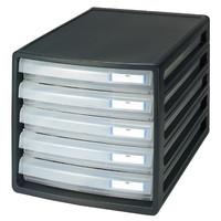 プラス レターケース 浅型5段 ブラック 16140 1箱(8台入)