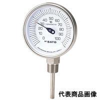 佐藤計量器製作所 バイメタル温度計 BM-S-90S (-30〜50℃、L=100mm、 R(PT)1/2) 1本 (直送品)