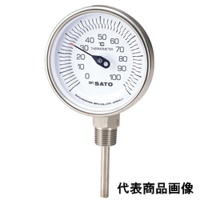 佐藤計量器製作所 バイメタル温度計 BM-S-90S (-30〜50℃、L=200mm、 R(PT)1/2) 1本 (直送品)